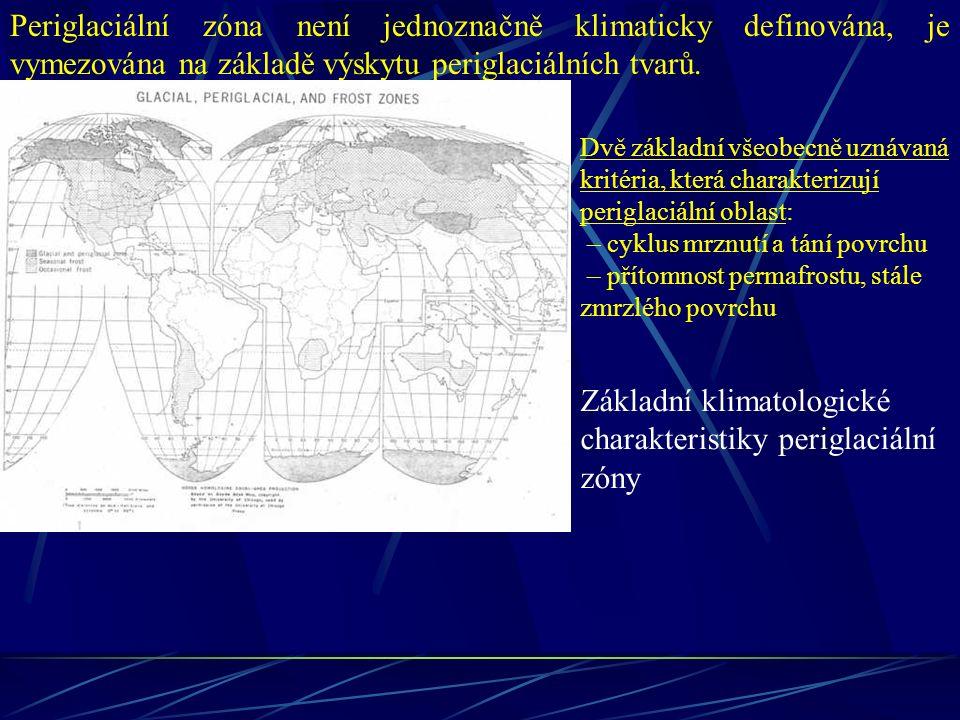 Periglaciální zóna není jednoznačně klimaticky definována, je vymezována na základě výskytu periglaciálních tvarů. Základní klimatologické charakteris