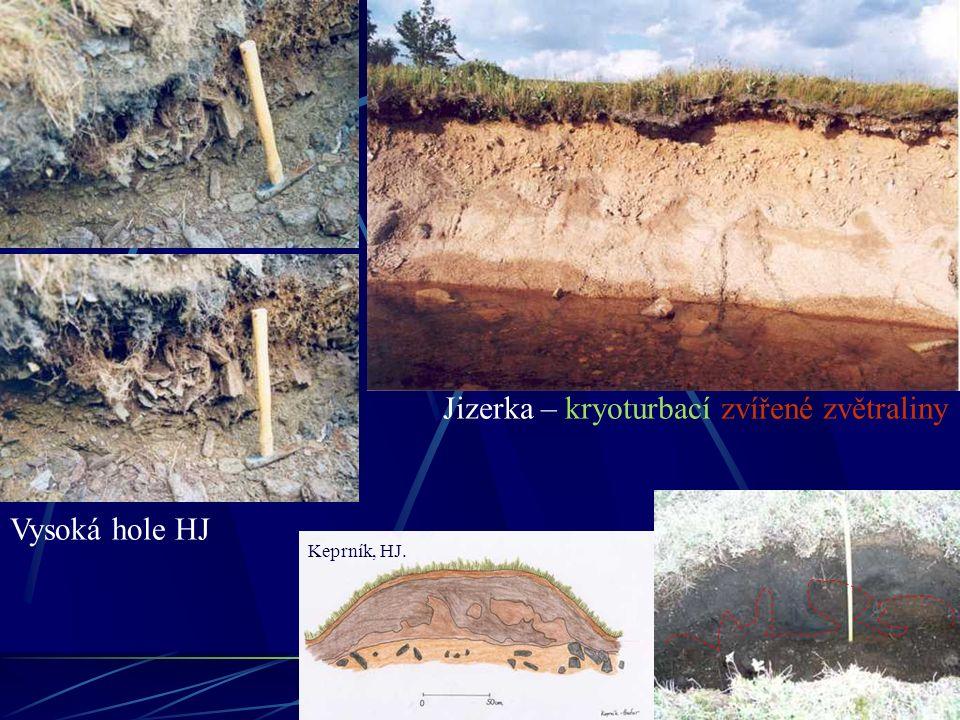 Jizerka – kryoturbací zvířené zvětraliny Keprník, HJ. Vysoká hole HJ
