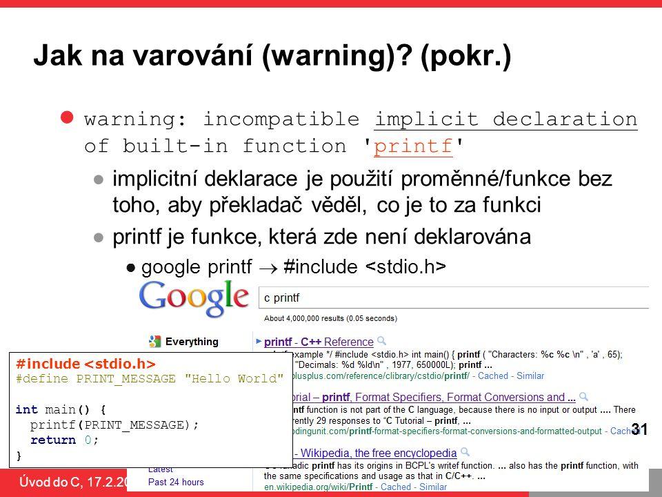 PB071 31 Jak na varování (warning).