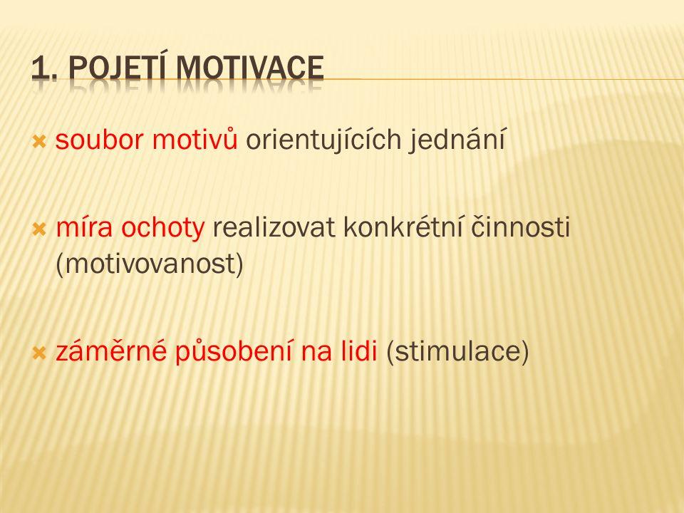  soubor motivů orientujících jednání  míra ochoty realizovat konkrétní činnosti (motivovanost)  záměrné působení na lidi (stimulace)