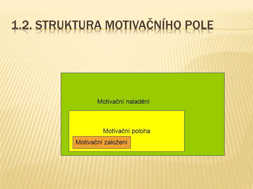 Motivační poloha Motivační založení Motivační naladění