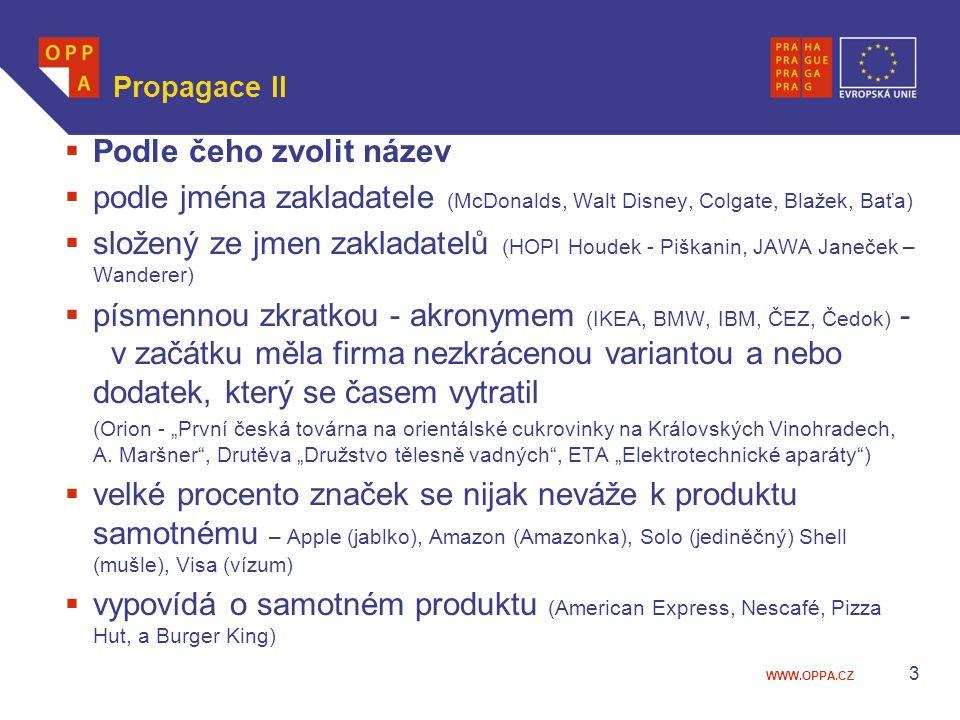 """WWW.OPPA.CZ Propagace II  Podle čeho zvolit název  podle jména zakladatele (McDonalds, Walt Disney, Colgate, Blažek, Baťa)  složený ze jmen zakladatelů (HOPI Houdek - Piškanin, JAWA Janeček – Wanderer)  písmennou zkratkou - akronymem (IKEA, BMW, IBM, ČEZ, Čedok) - v začátku měla firma nezkrácenou variantou a nebo dodatek, který se časem vytratil (Orion - """"První česká továrna na orientálské cukrovinky na Královských Vinohradech, A."""