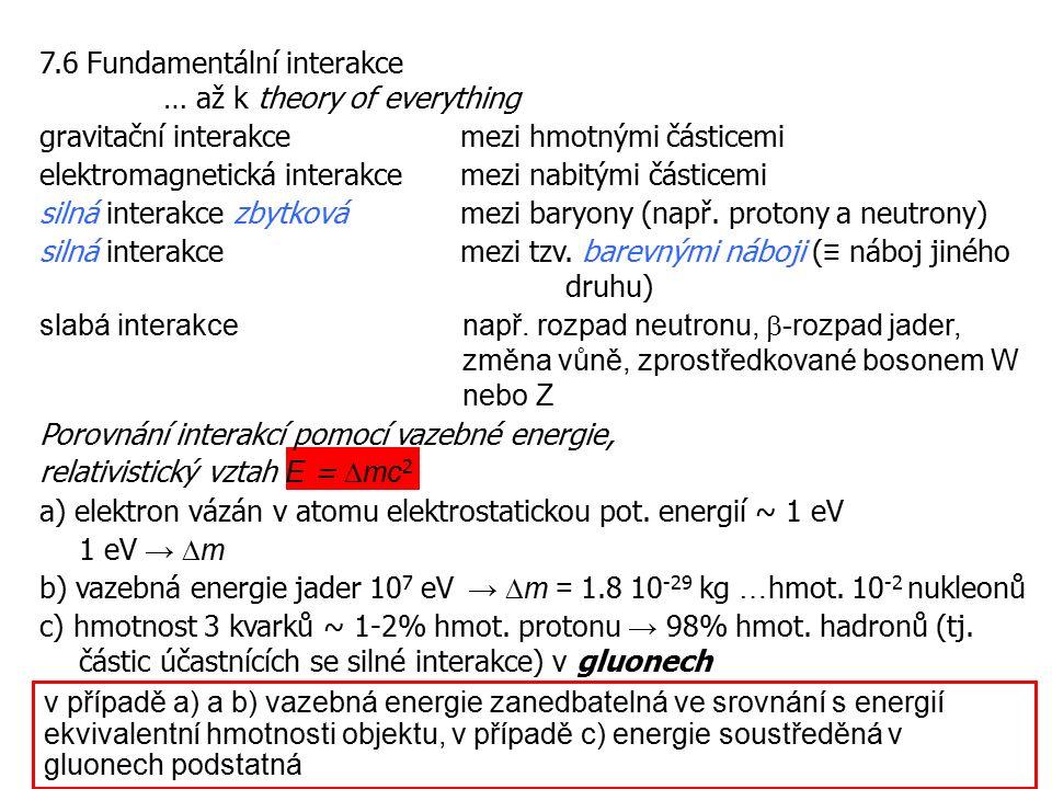 7.6 Fundamentální interakce … až k theory of everything gravitační interakce mezi hmotnými částicemi elektromagnetická interakce mezi nabitými částice