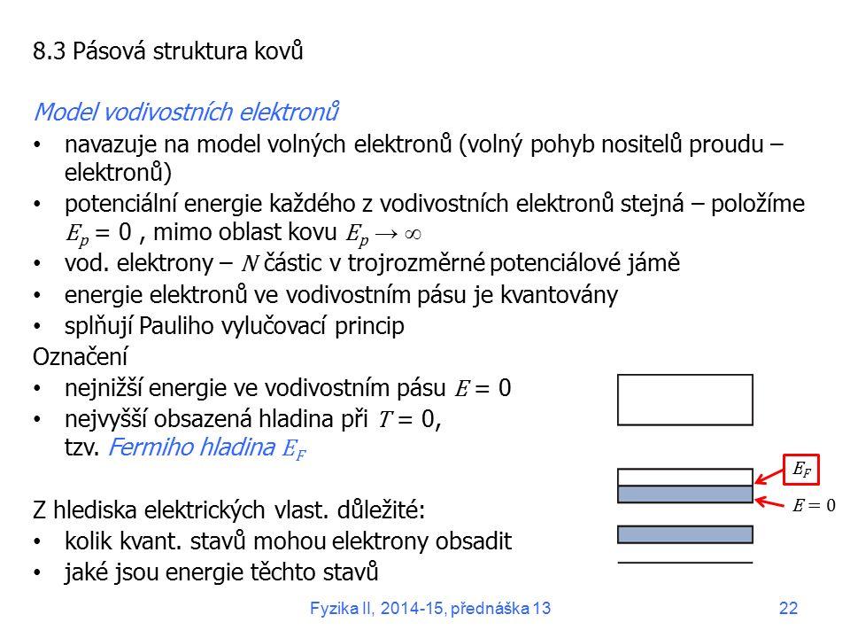 8.3 Pásová struktura kovů Model vodivostních elektronů navazuje na model volných elektronů (volný pohyb nositelů proudu – elektronů) potenciální energ
