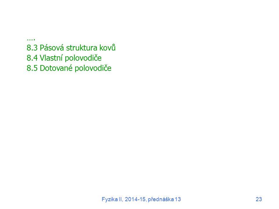 …. 8.3 Pásová struktura kovů 8.4 Vlastní polovodiče 8.5 Dotované polovodiče Fyzika II, 2014-15, přednáška 1323