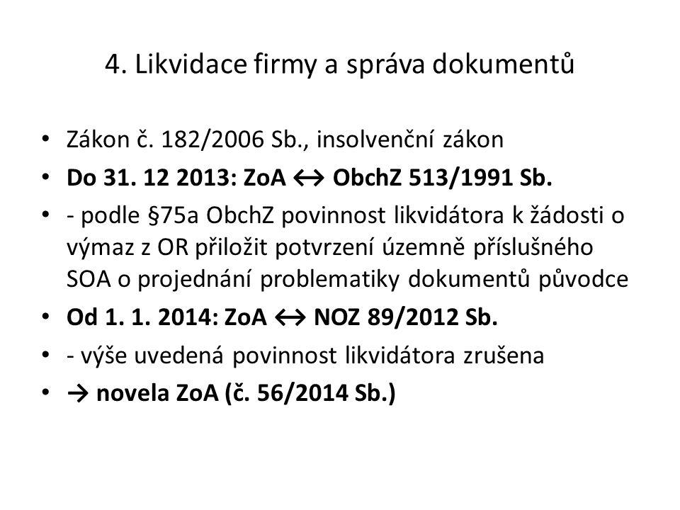 4. Likvidace firmy a správa dokumentů Zákon č. 182/2006 Sb., insolvenční zákon Do 31. 12 2013: ZoA ↔ ObchZ 513/1991 Sb. - podle §75a ObchZ povinnost l