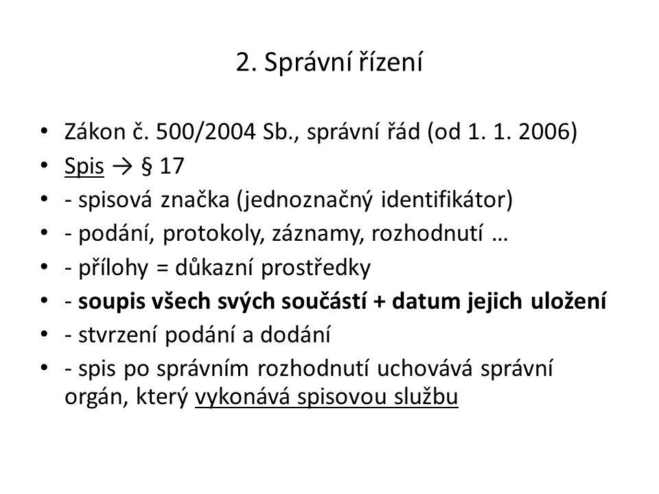 2. Správní řízení Zákon č. 500/2004 Sb., správní řád (od 1. 1. 2006) Spis → § 17 - spisová značka (jednoznačný identifikátor) - podání, protokoly, záz