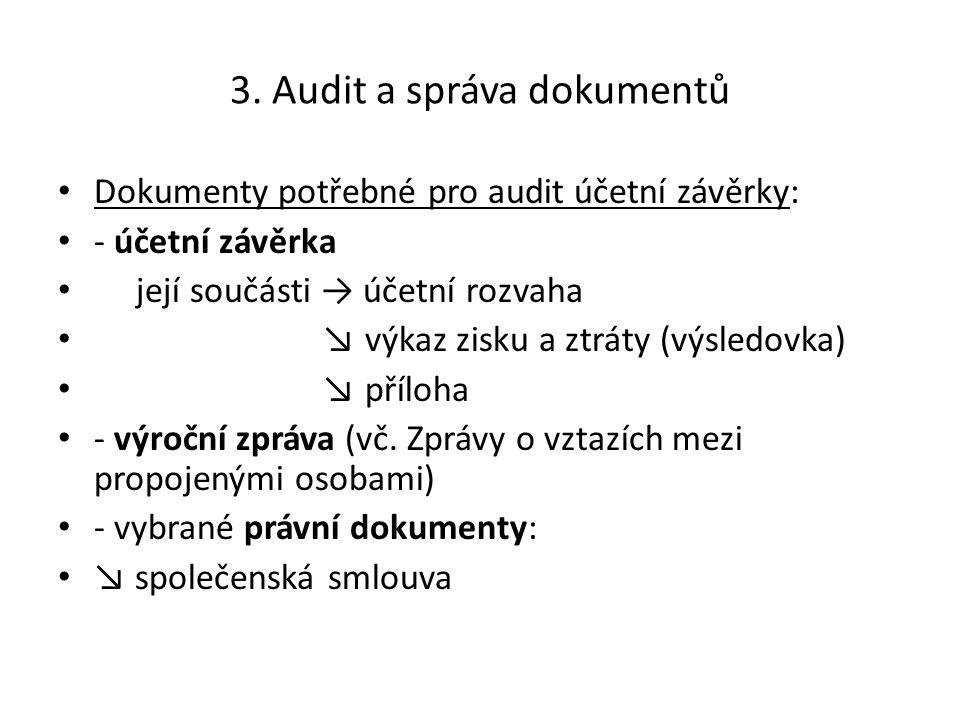 3. Audit a správa dokumentů Dokumenty potřebné pro audit účetní závěrky: - účetní závěrka její součásti → účetní rozvaha ↘ výkaz zisku a ztráty (výsle