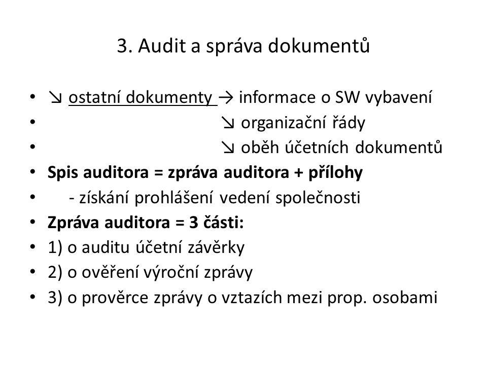 3. Audit a správa dokumentů ↘ ostatní dokumenty → informace o SW vybavení ↘ organizační řády ↘ oběh účetních dokumentů Spis auditora = zpráva auditora