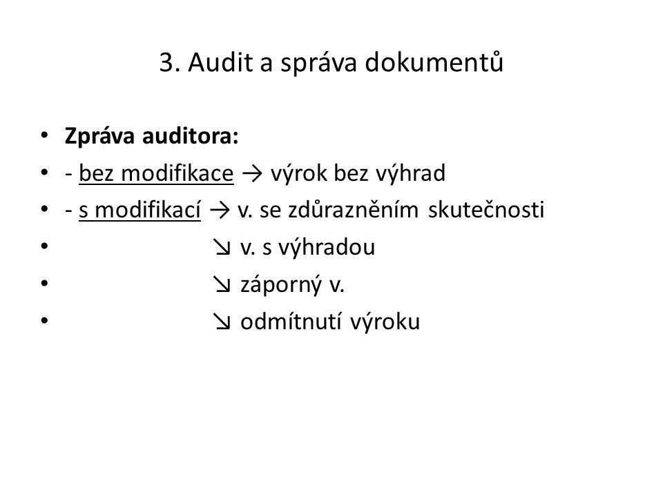3. Audit a správa dokumentů Zpráva auditora: - bez modifikace → výrok bez výhrad - s modifikací → v. se zdůrazněním skutečnosti ↘ v. s výhradou ↘ zápo