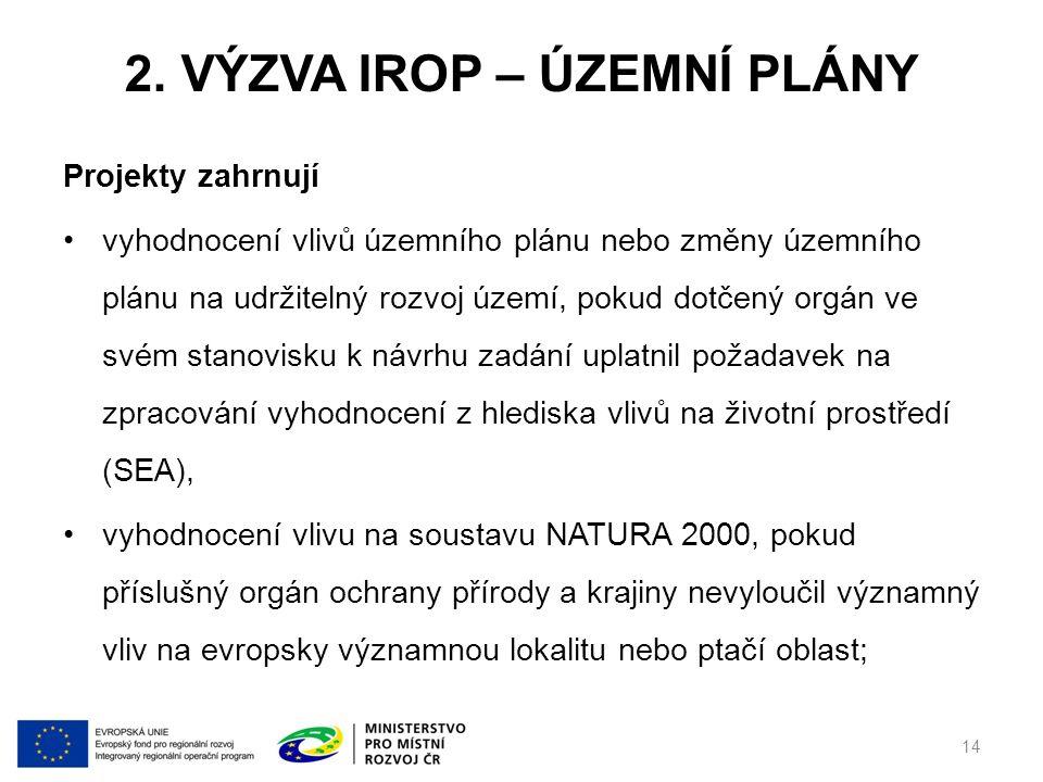 2. VÝZVA IROP – ÚZEMNÍ PLÁNY Projekty zahrnují vyhodnocení vlivů územního plánu nebo změny územního plánu na udržitelný rozvoj území, pokud dotčený or