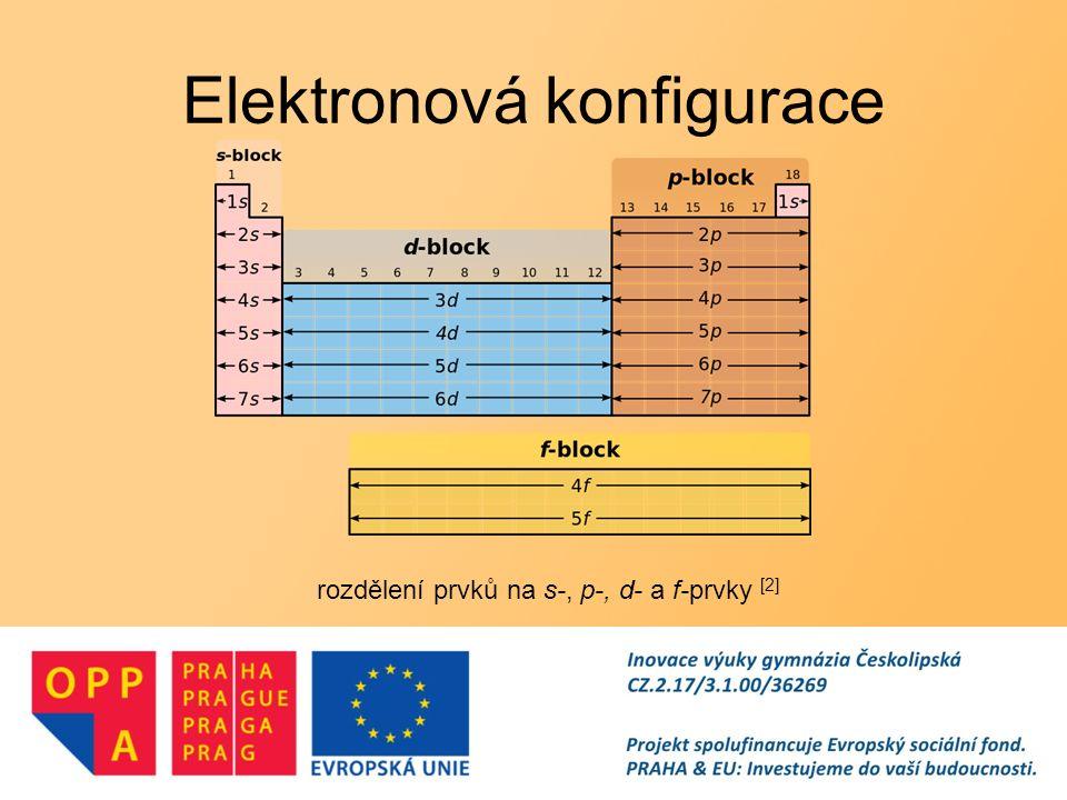 Elektronová konfigurace rozdělení prvků na s-, p-, d- a f-prvky [2]