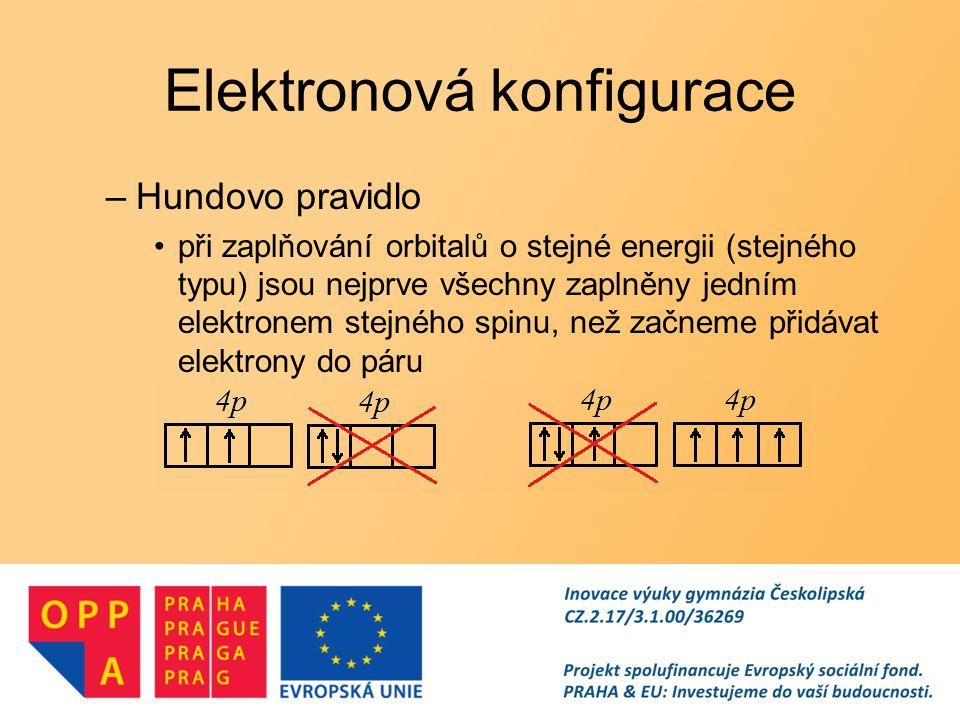 Elektronová konfigurace –Výstavbový princip orbitaly jsou obsazovány elektrony v pořadí podle vzrůstající energie –nejprve orbitaly s nejnižší energií = nejblíže jádru pořadí orbitalů podle energie –1s, 2s, 2p, 3s, 3p, 4s, 3d, 4p, 5s, 4d, 5p, 6s, 4f, 5d, 6s,...