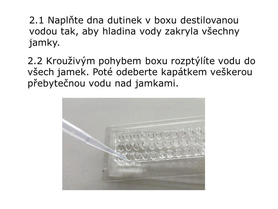 2.1 Naplňte dna dutinek v boxu destilovanou vodou tak, aby hladina vody zakryla všechny jamky.