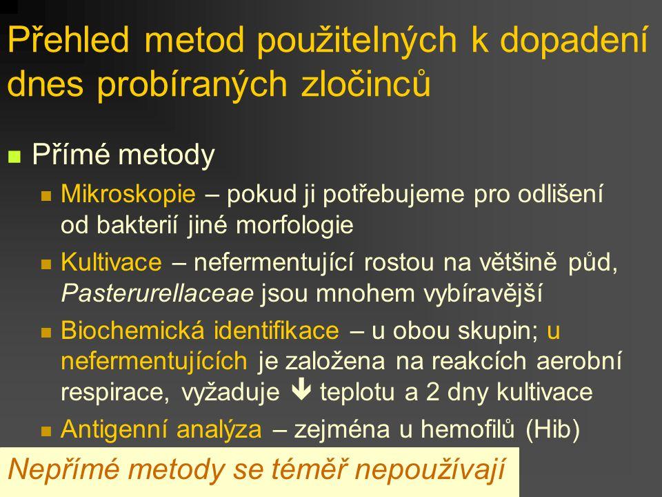 Přehled metod použitelných k dopadení dnes probíraných zločinců Přímé metody Mikroskopie – pokud ji potřebujeme pro odlišení od bakterií jiné morfologie Kultivace – nefermentující rostou na většině půd, Pasterurellaceae jsou mnohem vybíravější Biochemická identifikace – u obou skupin; u nefermentujících je založena na reakcích aerobní respirace, vyžaduje  teplotu a 2 dny kultivace Antigenní analýza – zejména u hemofilů (Hib) Nepřímé metody se téměř nepoužívají