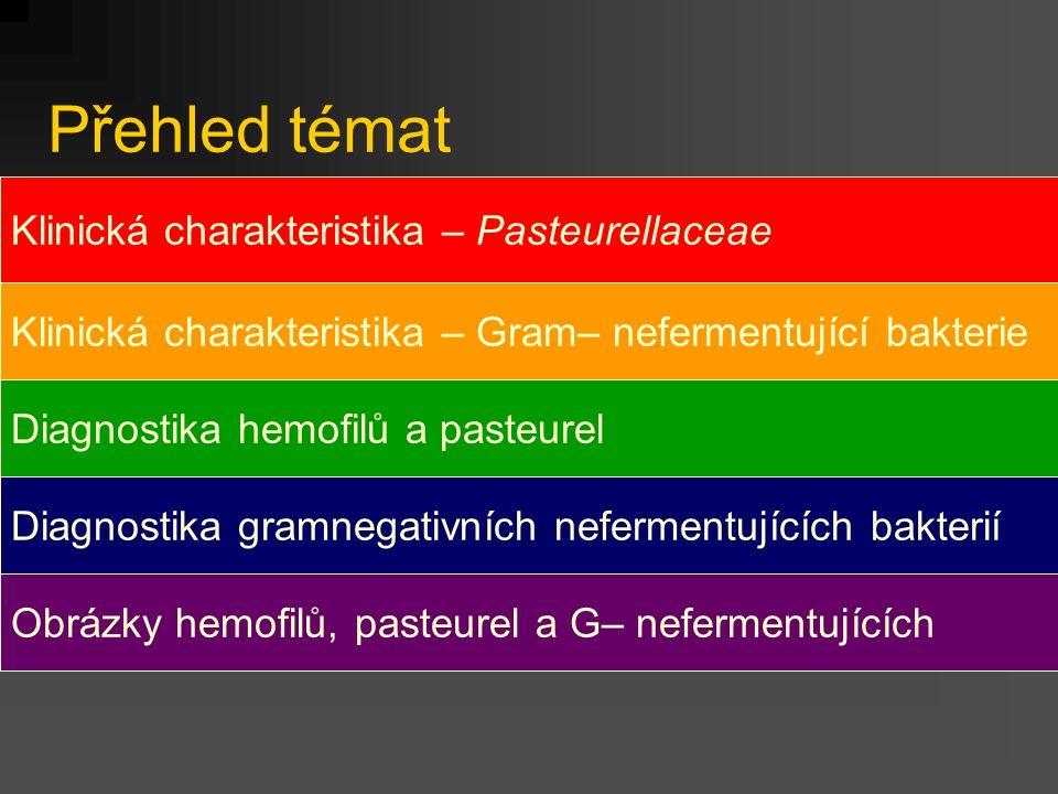 Přehled témat Klinická charakteristika – Pasteurellaceae Klinická charakteristika – Gram– nefermentující bakterie Diagnostika hemofilů a pasteurel Diagnostika gramnegativních nefermentujících bakterií Obrázky hemofilů, pasteurel a G– nefermentujících