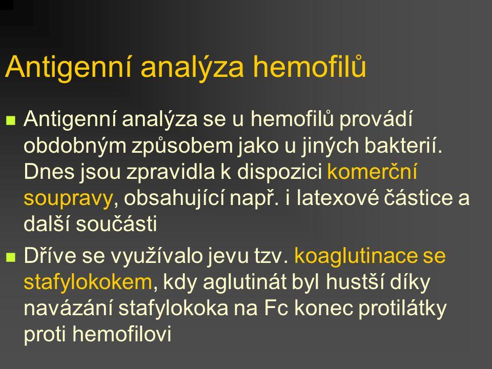 Antigenní analýza hemofilů Antigenní analýza se u hemofilů provádí obdobným způsobem jako u jiných bakterií. Dnes jsou zpravidla k dispozici komerční