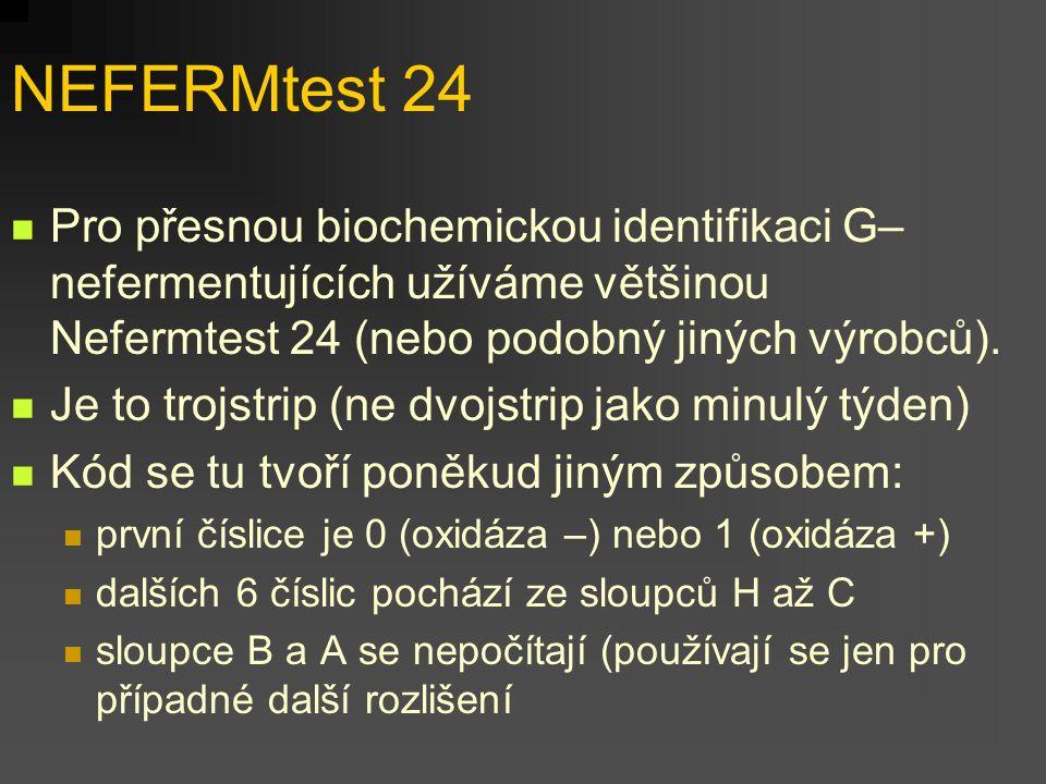 NEFERMtest 24 Pro přesnou biochemickou identifikaci G– nefermentujících užíváme většinou Nefermtest 24 (nebo podobný jiných výrobců). Je to trojstrip