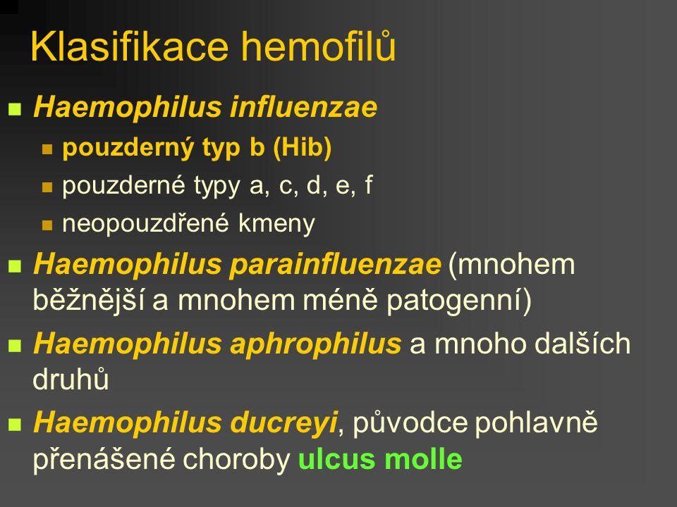 Klasifikace hemofilů Haemophilus influenzae pouzderný typ b (Hib) pouzderné typy a, c, d, e, f neopouzdřené kmeny Haemophilus parainfluenzae (mnohem běžnější a mnohem méně patogenní) Haemophilus aphrophilus a mnoho dalších druhů Haemophilus ducreyi, původce pohlavně přenášené choroby ulcus molle