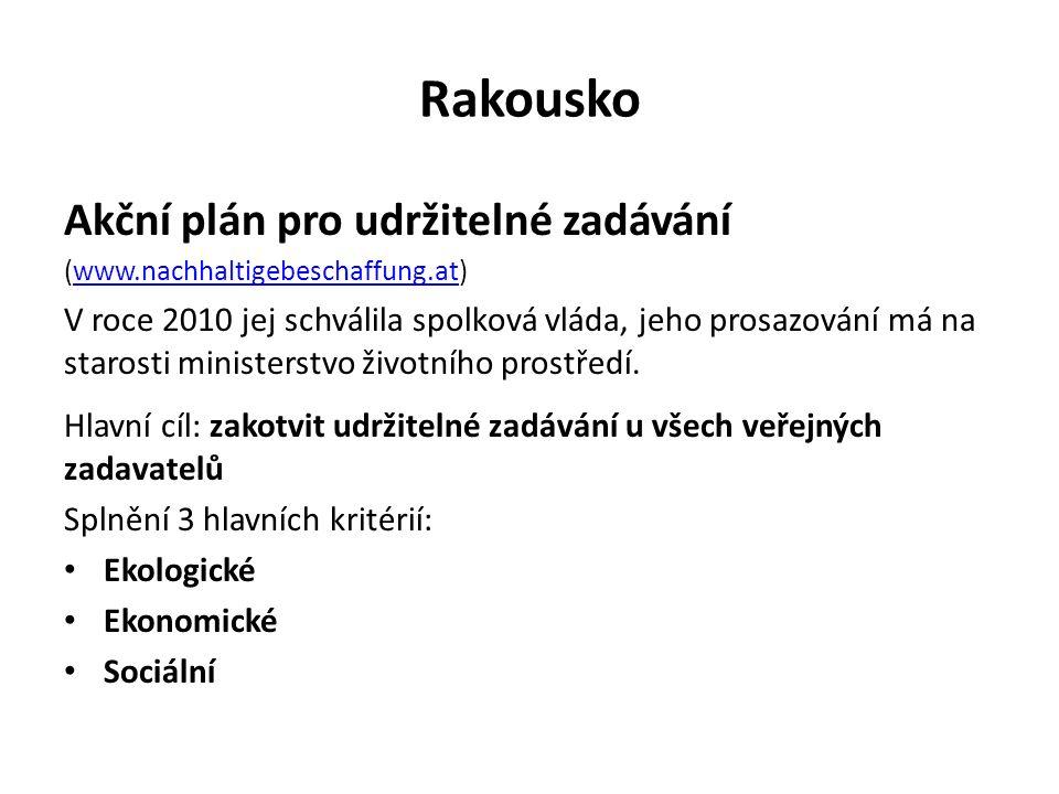 Rakousko Akční plán pro udržitelné zadávání (www.nachhaltigebeschaffung.at)www.nachhaltigebeschaffung.at V roce 2010 jej schválila spolková vláda, jeho prosazování má na starosti ministerstvo životního prostředí.