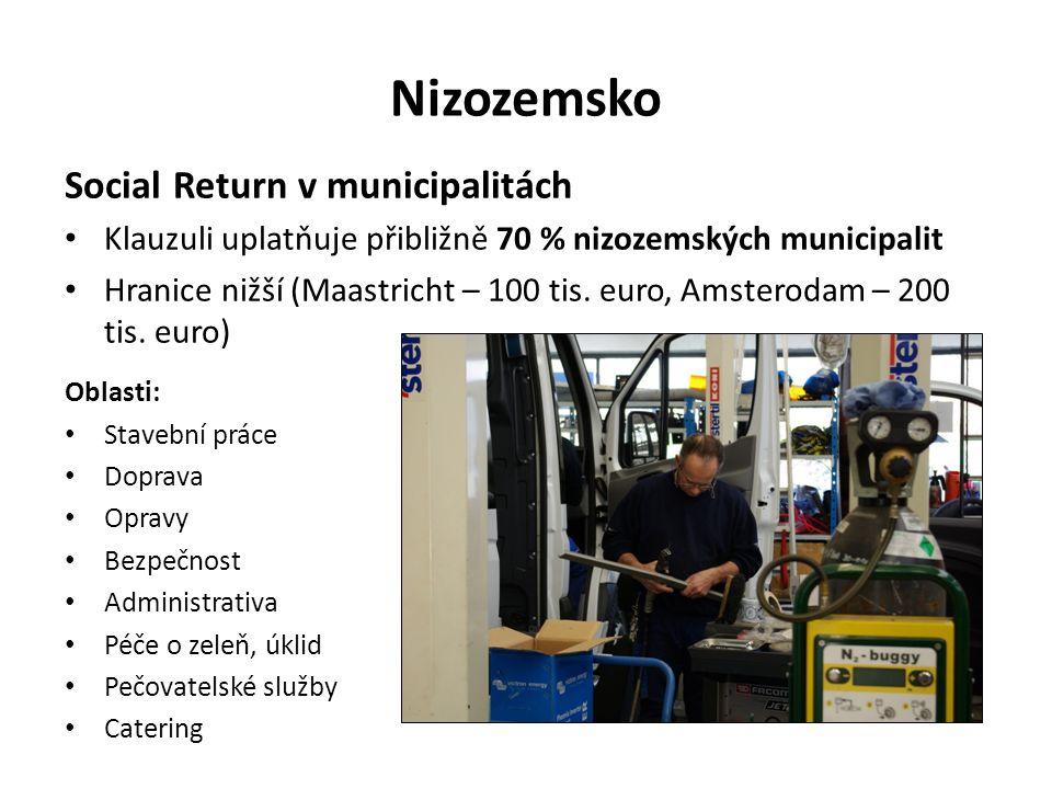 Nizozemsko Social Return v municipalitách Klauzuli uplatňuje přibližně 70 % nizozemských municipalit Hranice nižší (Maastricht – 100 tis.