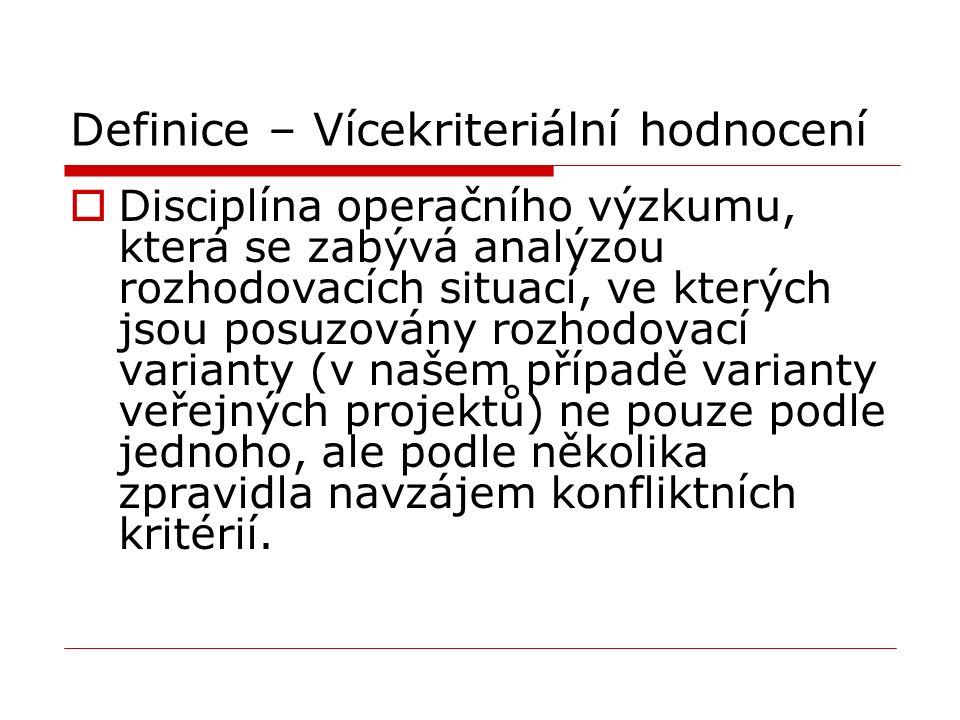 Definice – Vícekriteriální hodnocení  Disciplína operačního výzkumu, která se zabývá analýzou rozhodovacích situací, ve kterých jsou posuzovány rozho