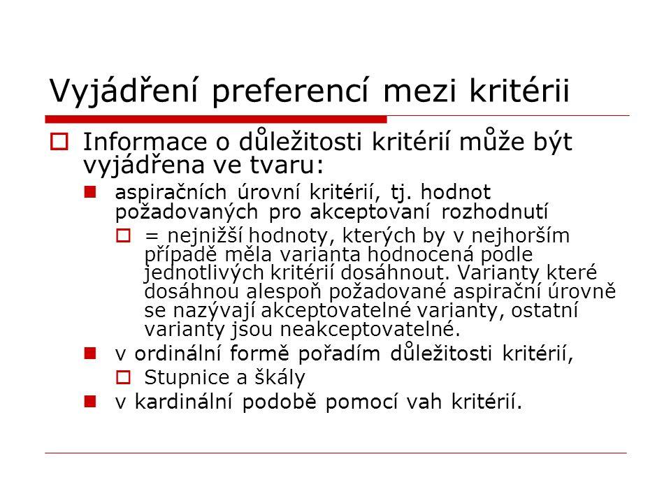 Vyjádření preferencí mezi kritérii  Informace o důležitosti kritérií může být vyjádřena ve tvaru: aspiračních úrovní kritérií, tj.