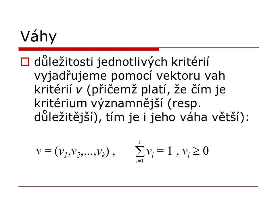 Váhy  důležitosti jednotlivých kritérií vyjadřujeme pomocí vektoru vah kritérií v (přičemž platí, že čím je kritérium významnější (resp.