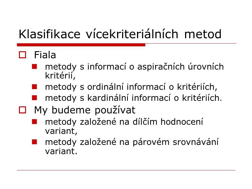 Klasifikace vícekriteriálních metod  Fiala metody s informací o aspiračních úrovních kritérií, metody s ordinální informací o kritériích, metody s kardinální informací o kritériích.