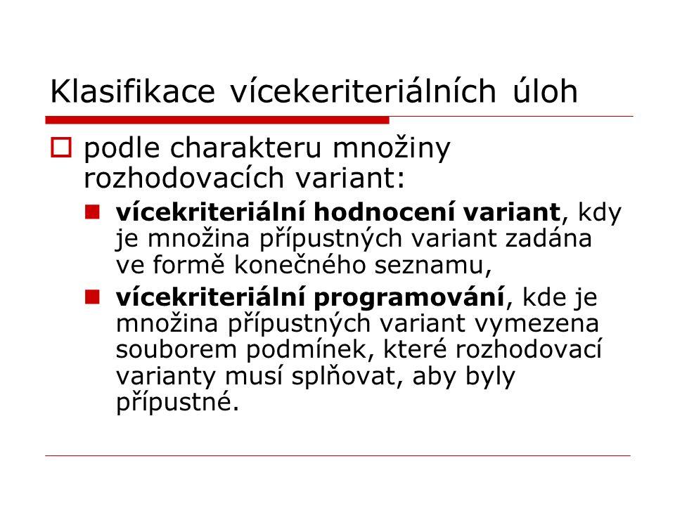 Popis vícekriteriálních rozhodovacích situací Vícekriteriální rozhodovací problémy jsou popsány množinou variant, množinou hodnotících kritérií a řadou vazeb mezi kritérii a variantami, které umožní definovat hodnotící funkce a metodou výběru což umožňuje formulovat vícekriteriální matematický model.