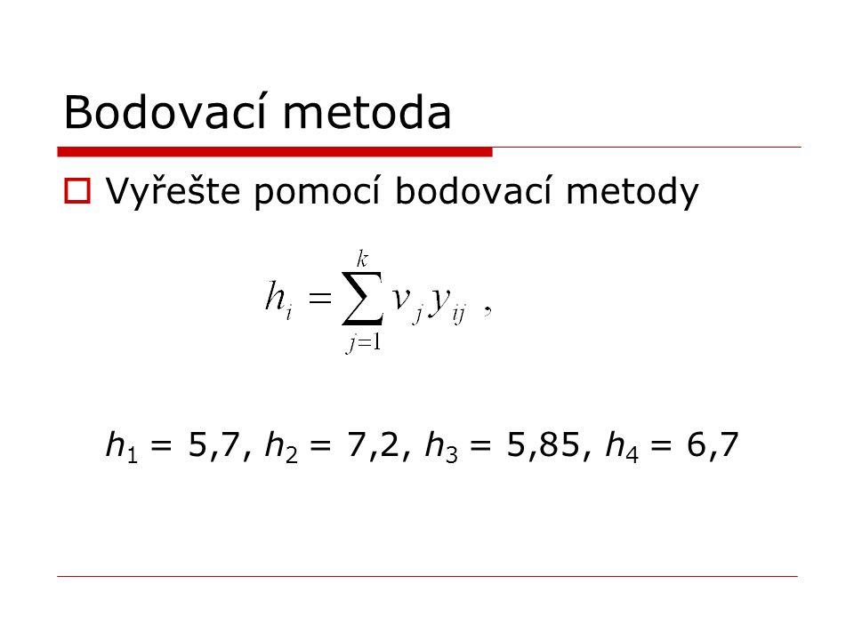 Bodovací metoda  Vyřešte pomocí bodovací metody h 1 = 5,7, h 2 = 7,2, h 3 = 5,85, h 4 = 6,7