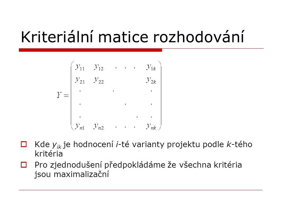 Kriteriální matice rozhodování  Kde y ik je hodnocení i-té varianty projektu podle k-tého kritéria  Pro zjednodušení předpokládáme že všechna kritéria jsou maximalizační