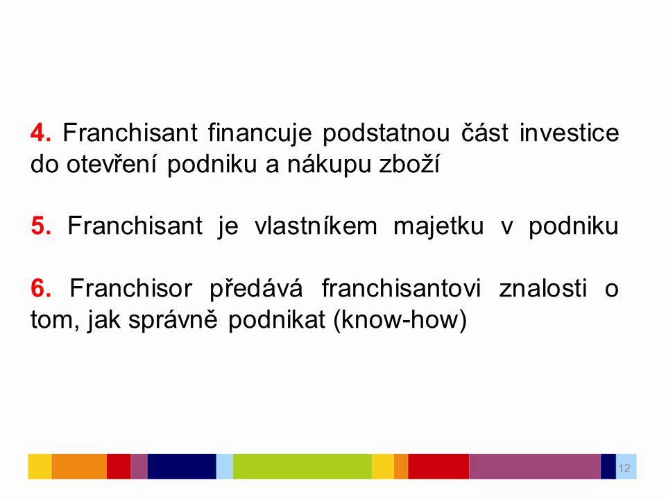 12 4. Franchisant financuje podstatnou část investice do otevření podniku a nákupu zboží 5. Franchisant je vlastníkem majetku v podniku 6. Franchisor