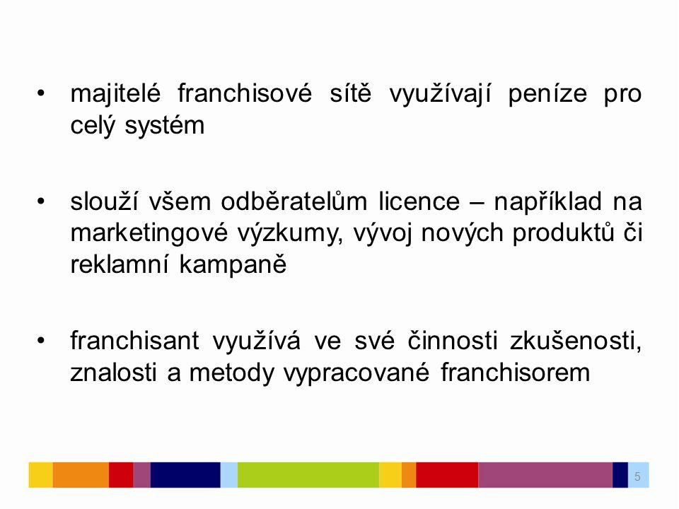 5 majitelé franchisové sítě využívají peníze pro celý systém slouží všem odběratelům licence – například na marketingové výzkumy, vývoj nových produkt