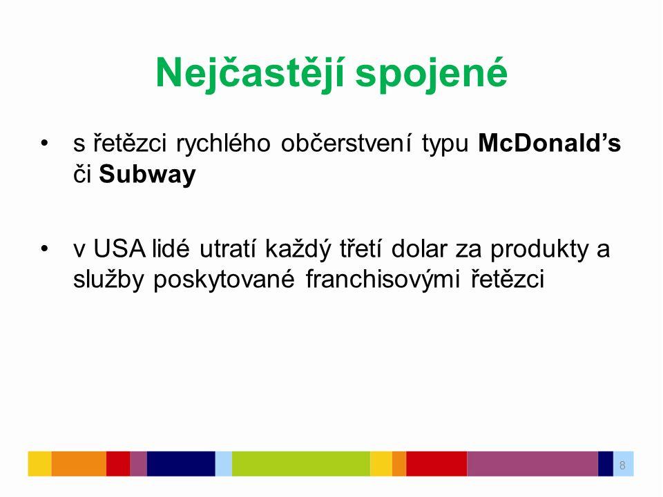 8 Nejčastějí spojené s řetězci rychlého občerstvení typu McDonald's či Subway v USA lidé utratí každý třetí dolar za produkty a služby poskytované fra