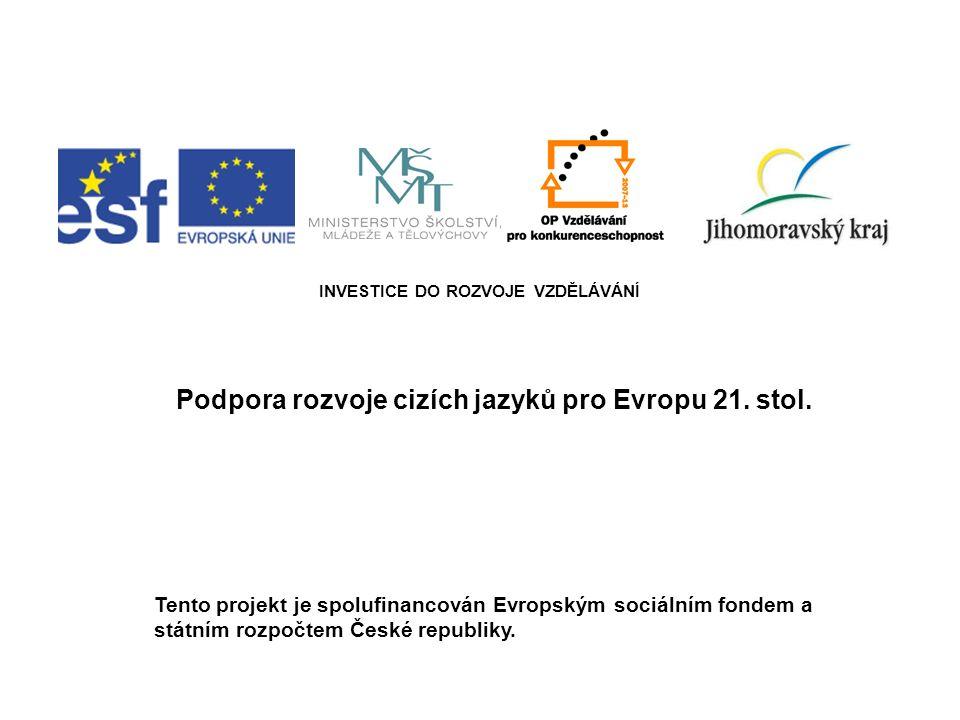 INVESTICE DO ROZVOJE VZDĚLÁVÁNÍ Podpora rozvoje cizích jazyků pro Evropu 21. stol. Tento projekt je spolufinancován Evropským sociálním fondem a státn
