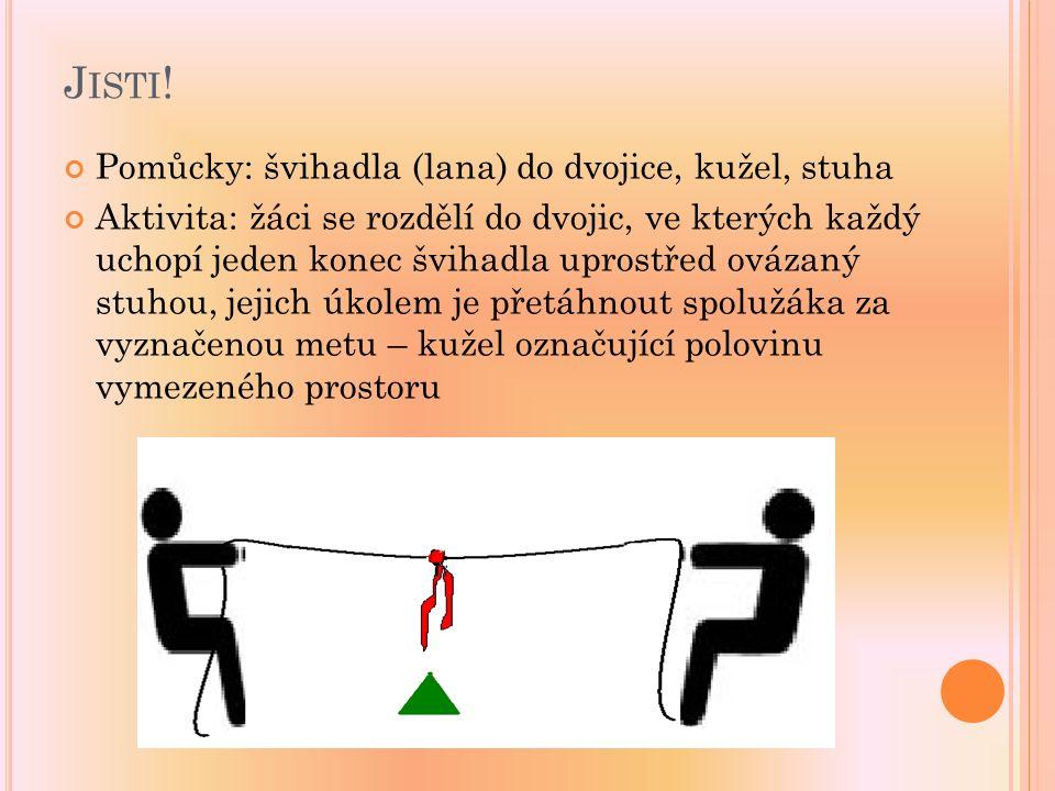 J ISTI ! Pomůcky: švihadla (lana) do dvojice, kužel, stuha Aktivita: žáci se rozdělí do dvojic, ve kterých každý uchopí jeden konec švihadla uprostřed