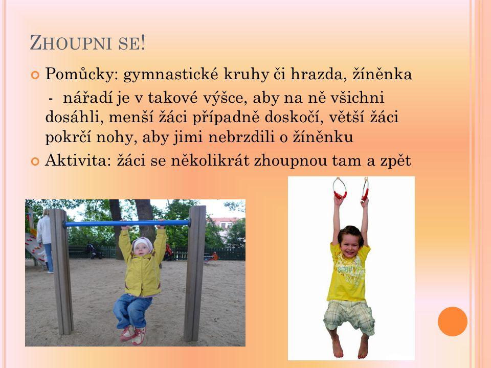 Z HOUPNI SE ! Pomůcky: gymnastické kruhy či hrazda, žíněnka - nářadí je v takové výšce, aby na ně všichni dosáhli, menší žáci případně doskočí, větší