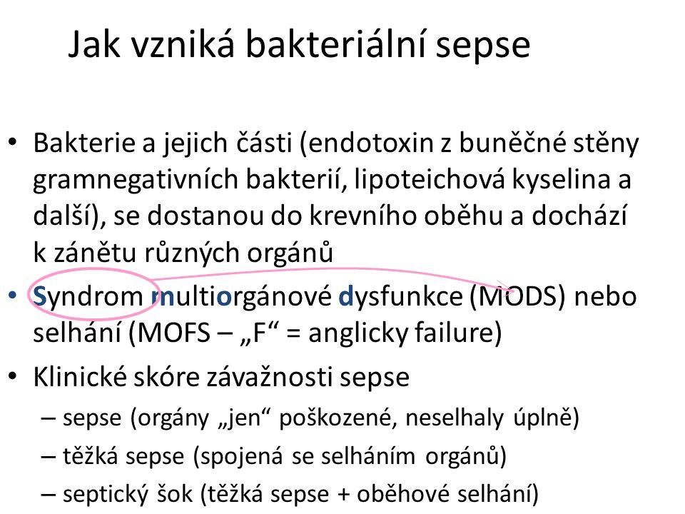 """Jak vzniká bakteriální sepse Bakterie a jejich části (endotoxin z buněčné stěny gramnegativních bakterií, lipoteichová kyselina a další), se dostanou do krevního oběhu a dochází k zánětu různých orgánů Syndrom multiorgánové dysfunkce (MODS) nebo selhání (MOFS – """"F = anglicky failure) Klinické skóre závažnosti sepse – sepse (orgány """"jen poškozené, neselhaly úplně) – těžká sepse (spojená se selháním orgánů) – septický šok (těžká sepse + oběhové selhání)"""