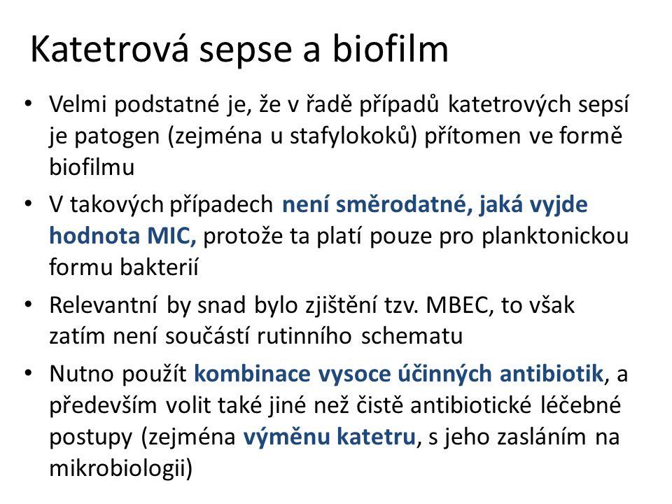 Katetrová sepse a biofilm Velmi podstatné je, že v řadě případů katetrových sepsí je patogen (zejména u stafylokoků) přítomen ve formě biofilmu V takových případech není směrodatné, jaká vyjde hodnota MIC, protože ta platí pouze pro planktonickou formu bakterií Relevantní by snad bylo zjištění tzv.