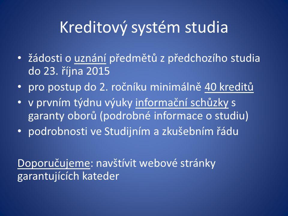 Kreditový systém studia žádosti o uznání předmětů z předchozího studia do 23. října 2015 pro postup do 2. ročníku minimálně 40 kreditů v prvním týdnu
