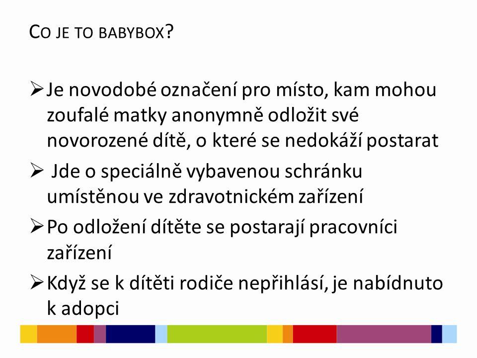 C O JE TO BABYBOX ?  Je novodobé označení pro místo, kam mohou zoufalé matky anonymně odložit své novorozené dítě, o které se nedokáží postarat  Jde