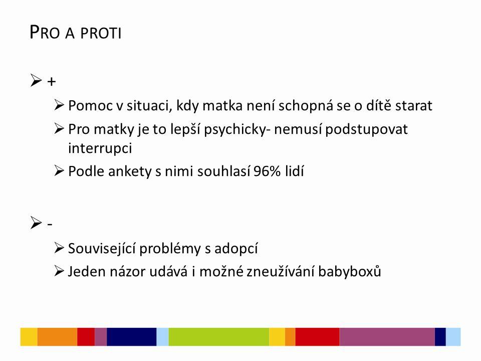 P RO A PROTI  +  Pomoc v situaci, kdy matka není schopná se o dítě starat  Pro matky je to lepší psychicky- nemusí podstupovat interrupci  Podle a
