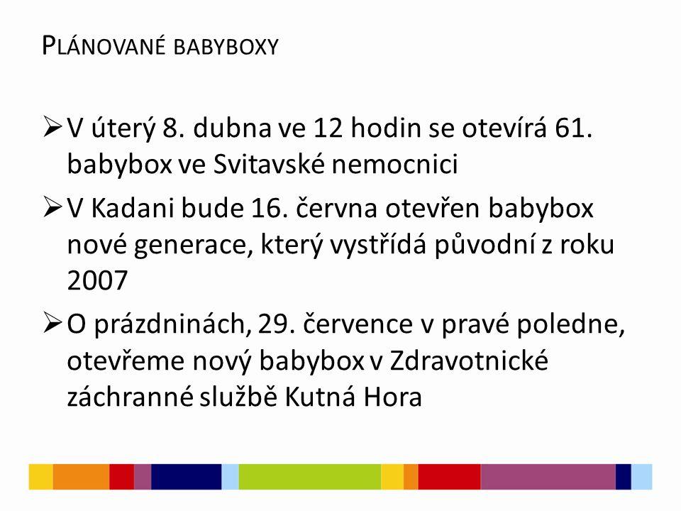 P LÁNOVANÉ BABYBOXY  V úterý 8. dubna ve 12 hodin se otevírá 61. babybox ve Svitavské nemocnici  V Kadani bude 16. června otevřen babybox nové gener
