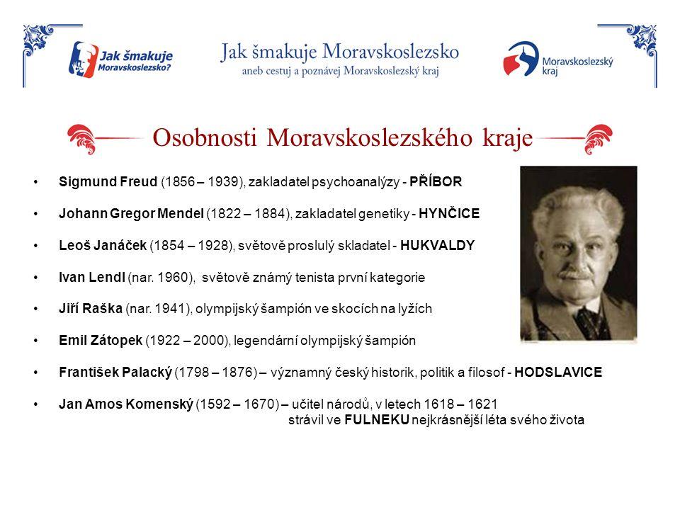 Osobnosti Moravskoslezského kraje Sigmund Freud (1856 – 1939), zakladatel psychoanalýzy - PŘÍBOR Johann Gregor Mendel (1822 – 1884), zakladatel geneti