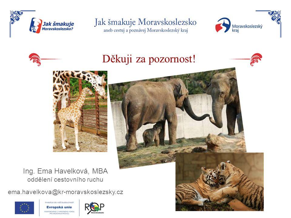 Děkuji za pozornost! Ing. Ema Havelková, MBA oddělení cestovního ruchu ema.havelkova@kr-moravskoslezsky.cz