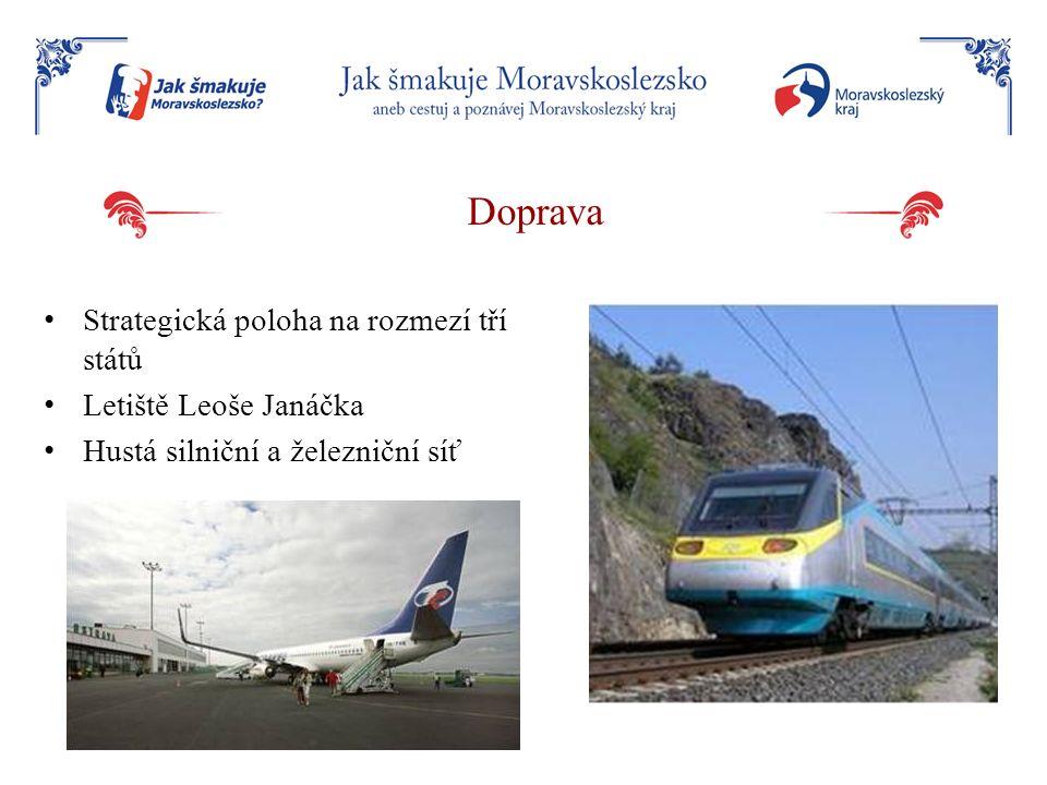 Doprava Strategická poloha na rozmezí tří států Letiště Leoše Janáčka Hustá silniční a železniční síť