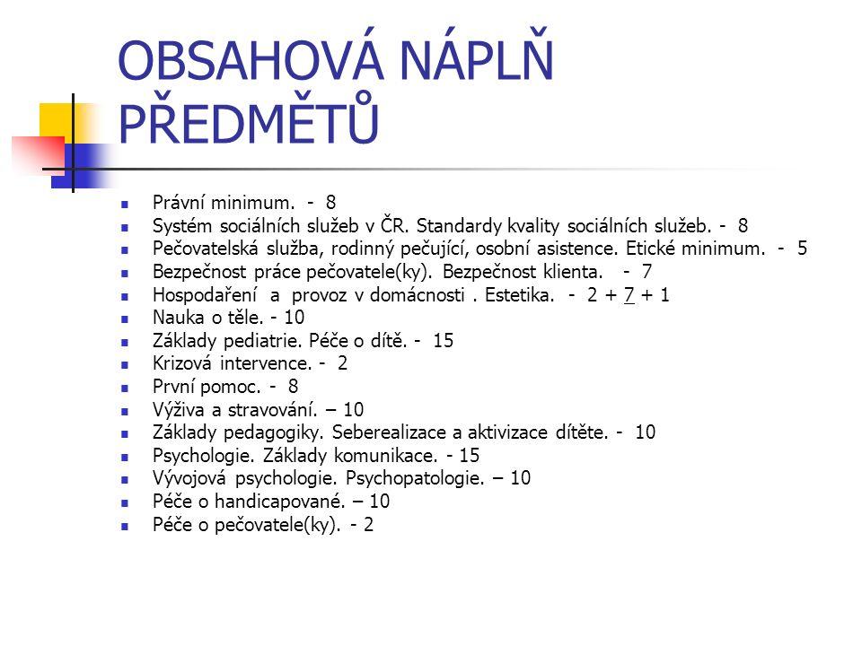 OBSAHOVÁ NÁPLŇ PŘEDMĚTŮ Právní minimum. - 8 Systém sociálních služeb v ČR. Standardy kvality sociálních služeb. - 8 Pečovatelská služba, rodinný pečuj