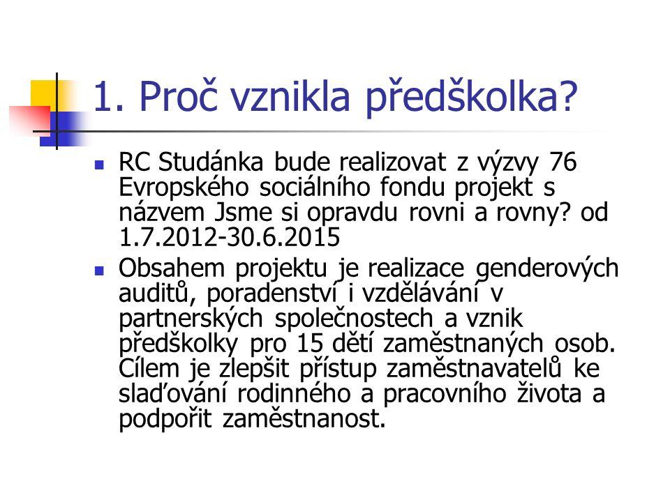 1. Proč vznikla předškolka? RC Studánka bude realizovat z výzvy 76 Evropského sociálního fondu projekt s názvem Jsme si opravdu rovni a rovny? od 1.7.