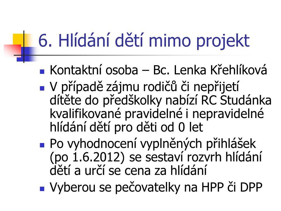 6. Hlídání dětí mimo projekt Kontaktní osoba – Bc. Lenka Křehlíková V případě zájmu rodičů či nepřijetí dítěte do předškolky nabízí RC Studánka kvalif